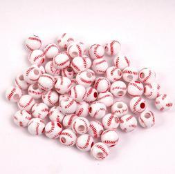 Baseball Beads 60pc for school sports jewelry necklaces brac