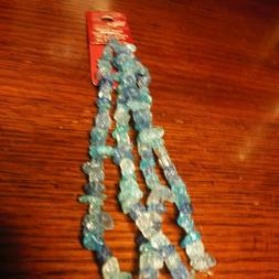 "BEAD LANDING SHADES OF BLUE MULTI TWO  10"" STRANDS 2 mm-4 mm"