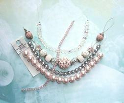 BEAD LOT KIT Jesse James, Pale Pink & Silver, Jewelry Making