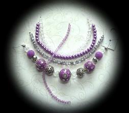 BEAD LOT KIT Jesse James, Purple & Silver, Jewelry Making Ki