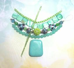 "BEAD LOT KIT- Turquoise Stone Pendant, Shells, 35"" of Beads"