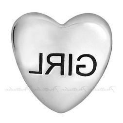 """Lovelinks Bead Sterling Silver, Heart With """"Girl"""" Name Charm"""