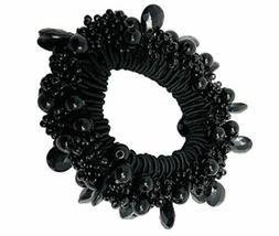 Moeni Beaded Black Elastic Hair Ponytail Scrunchy for Girls