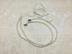 Pearl Beaded Earbud Phone Tablet Headphone
