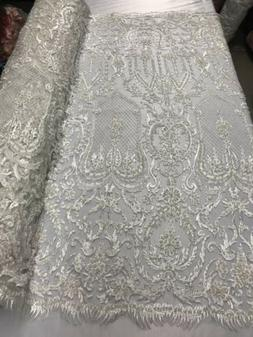 Beaded Fabric Ivory Embroidery Beads Fabric Lace Wedding Dre