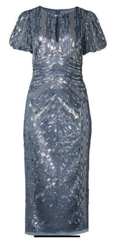 Aidan Mattox Beaded Keyhole Midi Dress. Size 12. $440.00