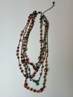 Joan Rivers Beaded Necklace Copper Red Green Layered Costume