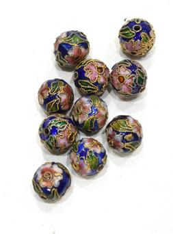 Beads Dark Blue Cloisonne Beads 12mm