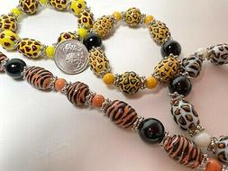 Beads for Jewelry Making Animal Print Tiger Leopard Oval Rou