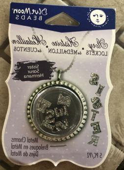 BLUE MOON BEADS STORY LOCKET CHARMS SPELLING SISTER CZ & SIL