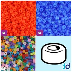 BeadTin Frosted 6.5mm Mini Barrel Pony Beads  - Color choice