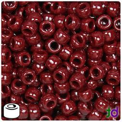 BeadTin Maroon Opaque 9mm Barrel Pony Beads