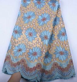 Beautiful Swiss Cotton Fabric Beaded & Silk Appliqué Flower