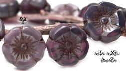 BFB-Premium Czech Glass Flower Beads 10mm *AMETHYST PURPLE H