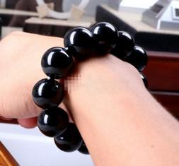 Big 14MM Black Agate Onyx Gemstone Beads Men Jewelry Bracele