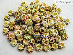 Big Hole Crystal Rhinestones Pave Gold Rondelle Spacer Beads