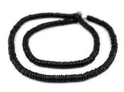 Black Bone Button Beads 6mm Nepal Disk Large Hole 24 Inch St