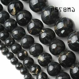 Black shell howlite stone round Loose beads jewelry making 1