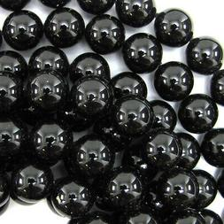 "Black Shell Pearl Round Beads Gemstone 16"" Strand 6mm 8mm 10"