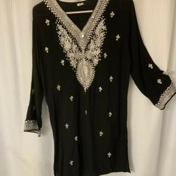 Black Tunic Silver Bead And Sequin Sz S India/ Fancy/ Elegan