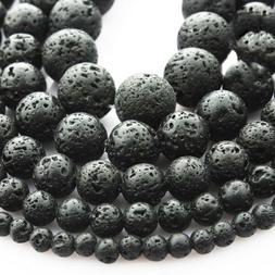 Black Volcanic Lava Beads Loose Spacer For Jewelry Making DI