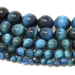 "Blue Green Tiger Eye Beads Round 4mm 6mm 8mm 10mm 12mm 15.5"""