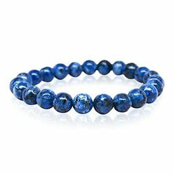 Blue Jasper Natural Stone Beaded Bracelet for Men Women Chak