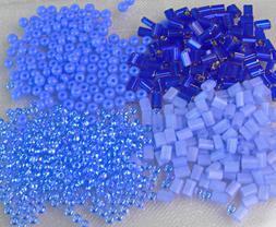 Blue Lot Mix Baby Pillow 8/0 6/0 Czech Beads 40-Grams Glass