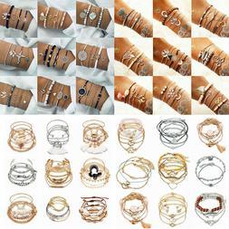 Bohemia Handmade Tassel Crystal Shell Bracelet Set Women Bea