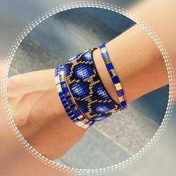 Bohemia Tila Beads Bracelet Set Women Blue Tortoise Pattern