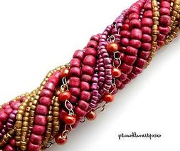 Blue Moon Bohemian Seed Bead Collection Fuchsia Pink Gold St