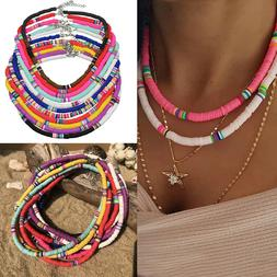 Boho 6mm Colorful Polymer Clay Choker Necklace Flat Round Be