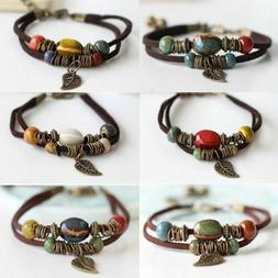 Boho Handmade Double Layer Rope Leather Leaf Beads Bracelet