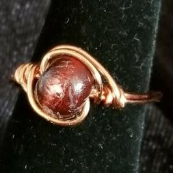Handmade BoHo Ring Copper and Wooden Bead Womens Size 8.5