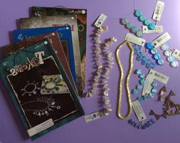 Blue Moon Beads And Books Lot Mother-of-Pearl Shell, Glass,