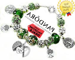 "Pandora Bracelet Silver Green St Patrick's Day ""Love"" with E"