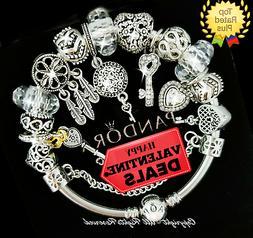"""Pandora Bracelet Silver Gold """"Key to My Heart"""" VALENTINE wit"""