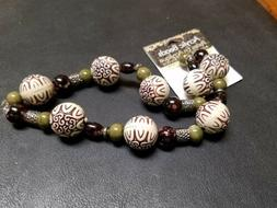 BRAND NEW Cousin Acrylic Beads Brown/Tan, Green, & Silver Be