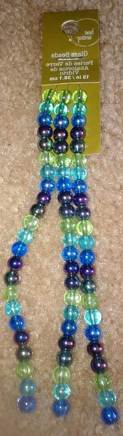 Brand New Bead Landing Glass Rainbow Green Round Size: 6 mm