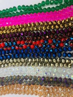 Briolette Rondelle Crystal Glass beads, 10mm, Asst Colors Ap