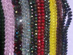 Briollete Rondelle Crystal Glass beads 8mm, 10 Colors Approx