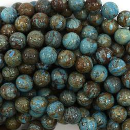 "Brown Blue Turquoise Round Beads Gemstone 15.5"" Strand 4mm 6"
