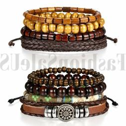 Brown Leather Tribal Beaded Cuff Wristband Bangle Bracelet f