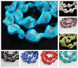 Bulk 12pcs 18x14mm Twist Loose Handmade Lampwork Glass Beads