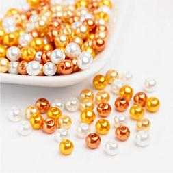 BULK 200 Glass Beads 6mm - Assorted Orange with Pearl Finish
