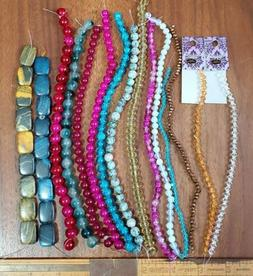 "Bulk Bead Lot 15 strands 7-9""long crystal glass firepolish g"