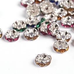 BULK Beads Rhinestone Spacer Beads 7mm Acrylic Beads Assorte