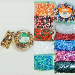 Bulk Lot 7+ Lbs Round Pony Beads Plastic & Wood Craft Beads