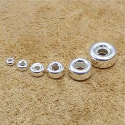 Bulk Sterling Silver Donut Beads 925 Silver Tire Beads for B