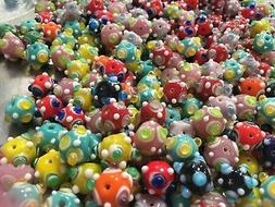 Bumpy Beads Lampwork 14mm Roundelle Glass Beads Assorted Col
